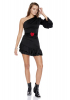 Black knitted single sleeve mini dress