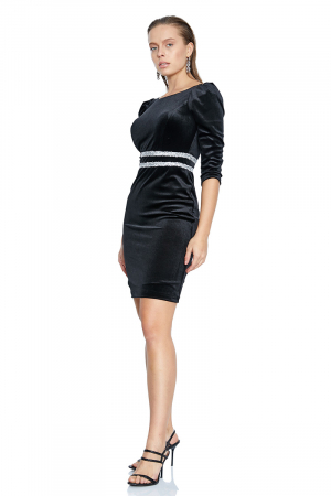 Black velvet 3/4 sleeve mini dress