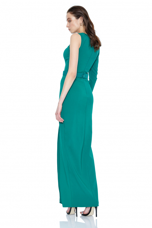 Green crepe single sleeve maxi dress