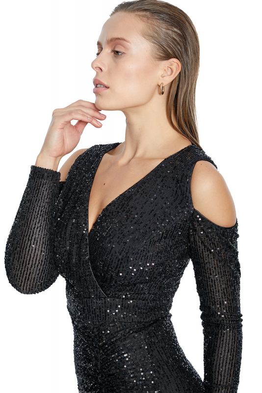 Black sequined long sleeve midi dress