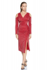 Red velvet 13 long sleeve midi dress