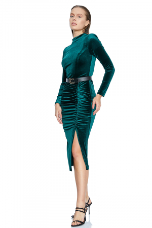Green velvet long sleeve midi dress