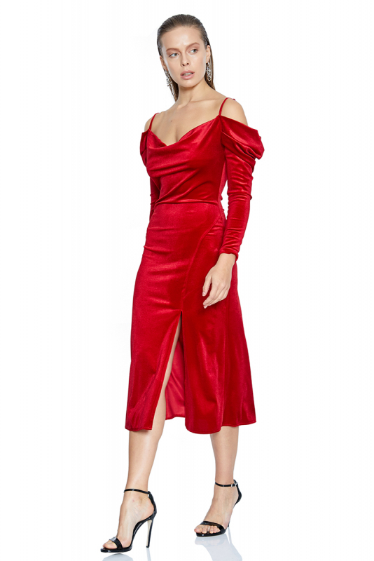 Red velvet long sleeve midi dress