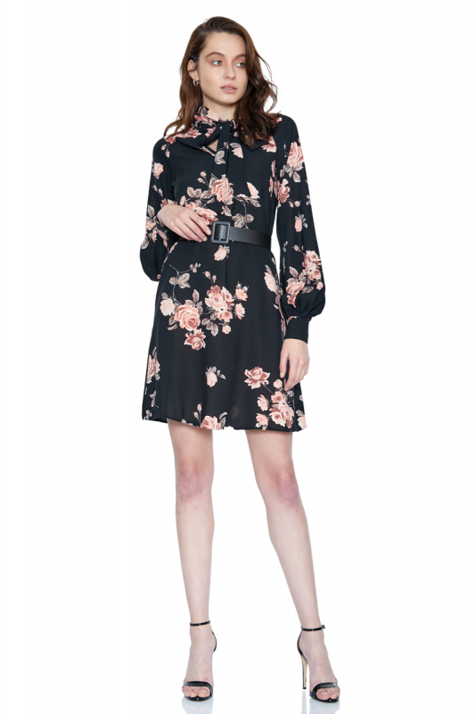Print d65 crepe long sleeve midi dress