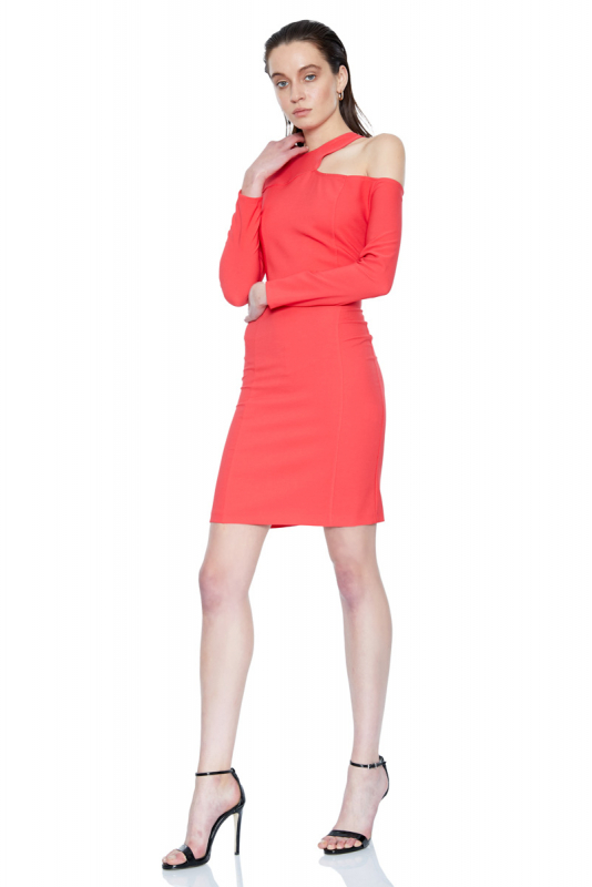 Coral crepe short sleeve mini dress