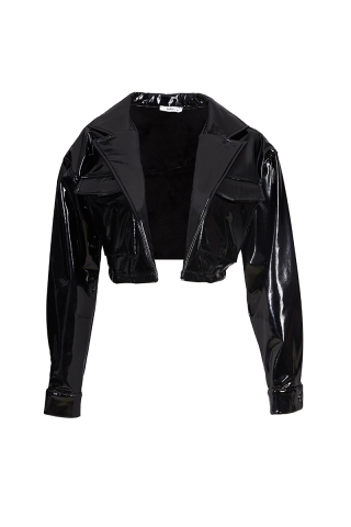 Black leather long sleeve jacket