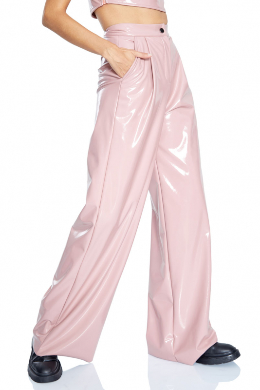 Powder leather maxi trousers