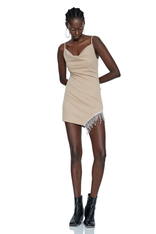 Beige sleeveless mini dress