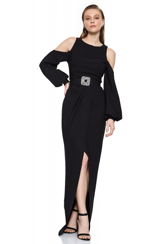 Black crepe long sleeve maxi dress