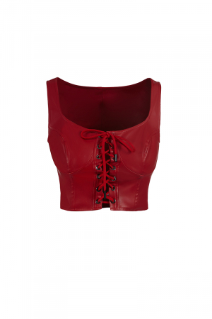 Red leather sleeveless
