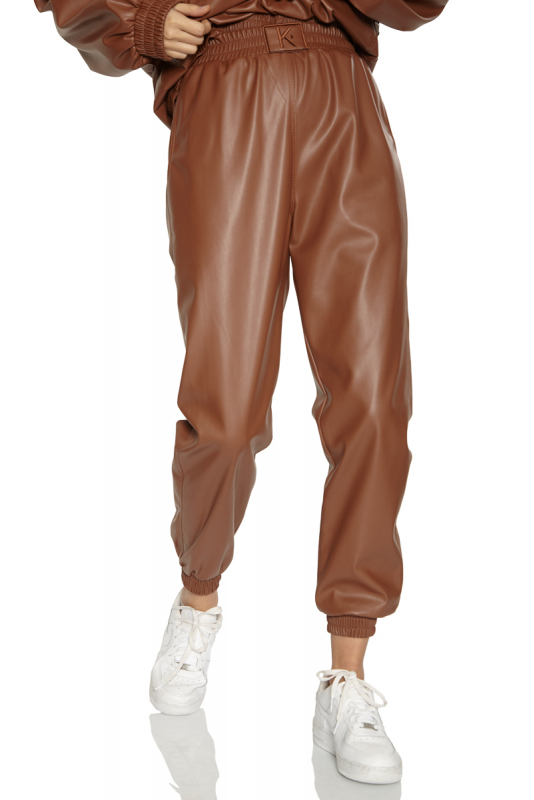 Brown leather long trousers