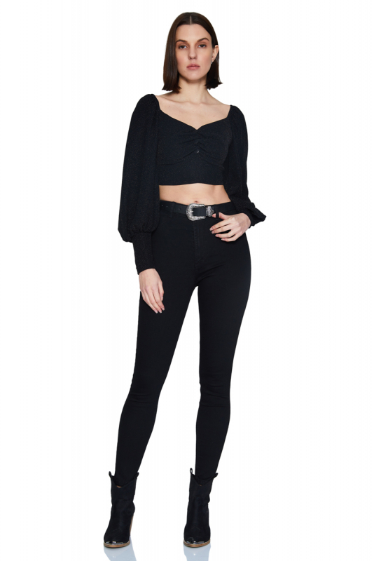Black velvet 13 long sleeve mini blouse