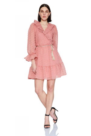 Dusty rose 020 long sleeve midi dress