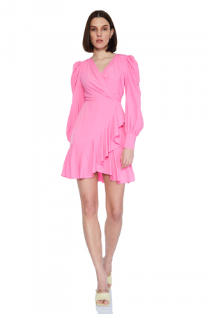 Pink 046 chiffon long sleeve mini dress
