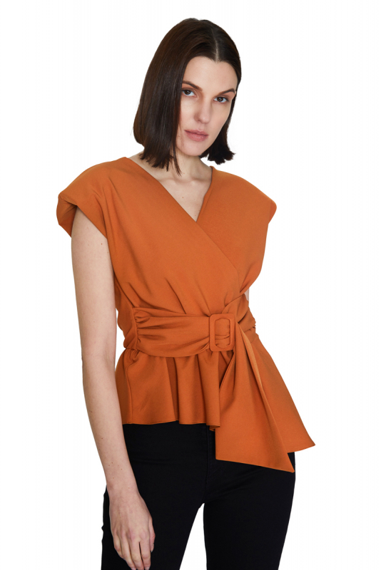 Ginger crepe sleeveless mini blouse