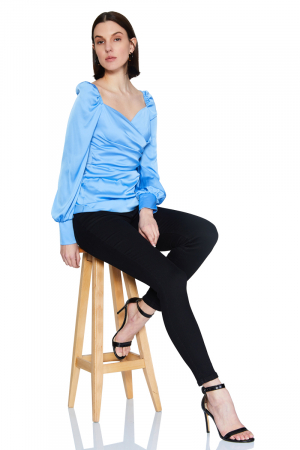 Blue satin long sleeve mini blouse
