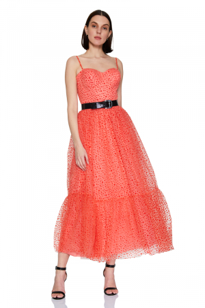 Coral tulle sleeveless maxi dress