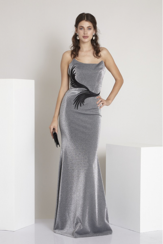 Silver knitted strapless maxi dress