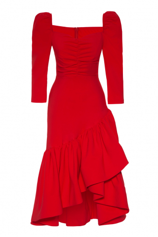 Red crepe 3/4 sleeve maxi dress