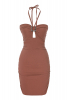 Brown crepe sleeveless mini dress