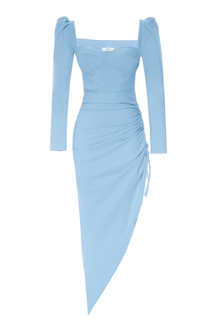 Blue crepe long sleeve maxi dress