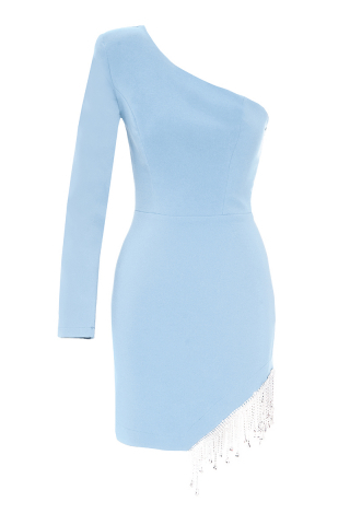 Blue crepe single sleeve mini dress