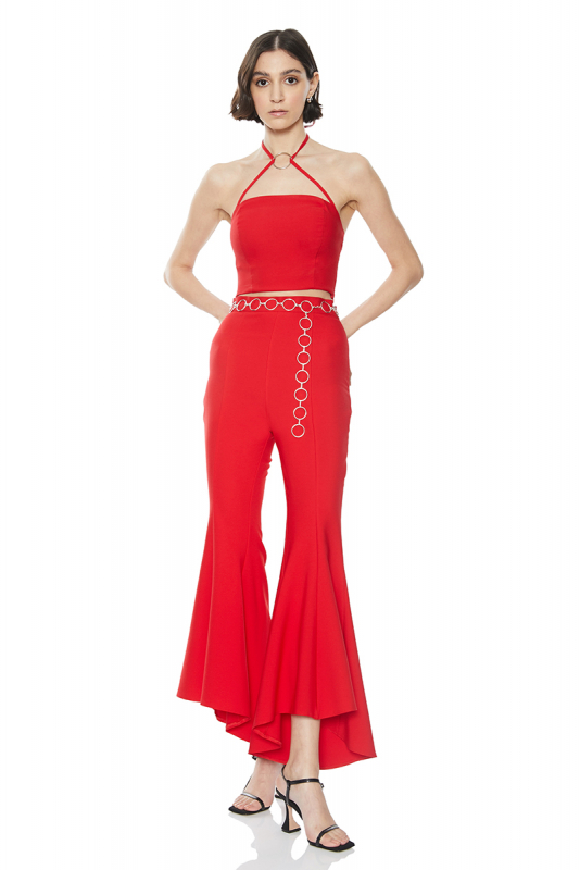 Red crepe sleeveless