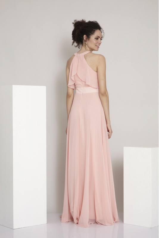 Powder chiffon sleeveless maxi dress