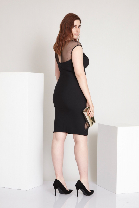 Black plus size plain dress