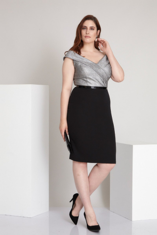 Silver plus size crepe sleeveless midi dress
