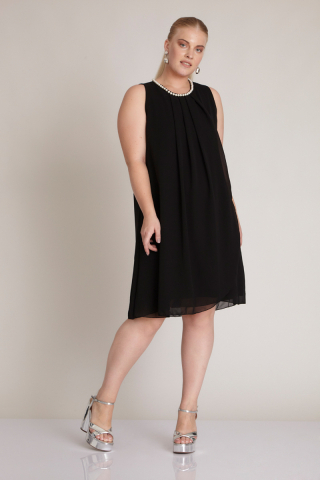 Black plus size chiffon sleeveless midi dress