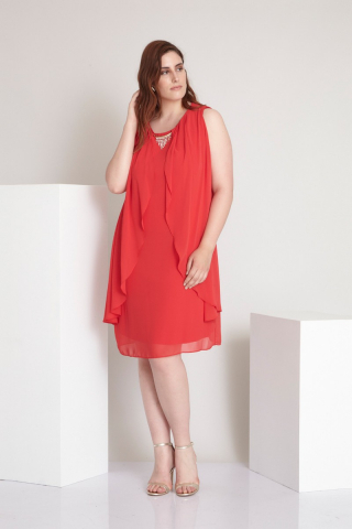 Red plus size chiffon sleeveless mini dress