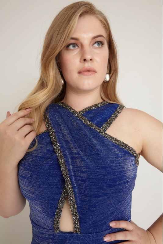 Sax plus size knitted sleeveless maxi dress