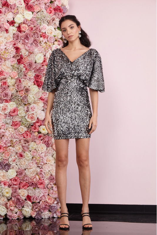 Silver sequined short sleeve mini dress