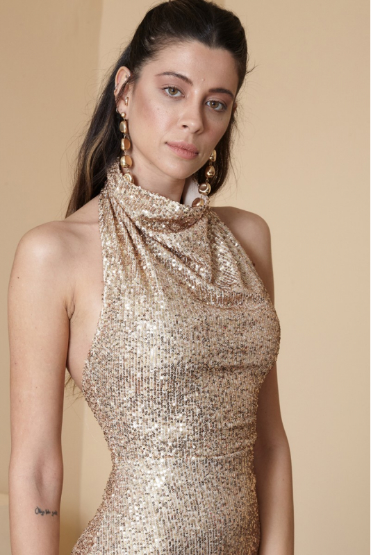 Beige sequined sleeveless maxi dress