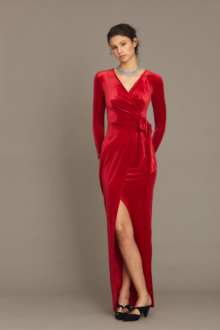 Red velvet long sleeve maxi dress