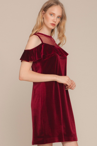 Claret red velvet short sleeve mini dress