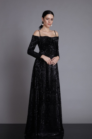 Black velvet long sleeve maxi dress
