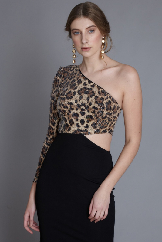 Leopard sequined maxi dress