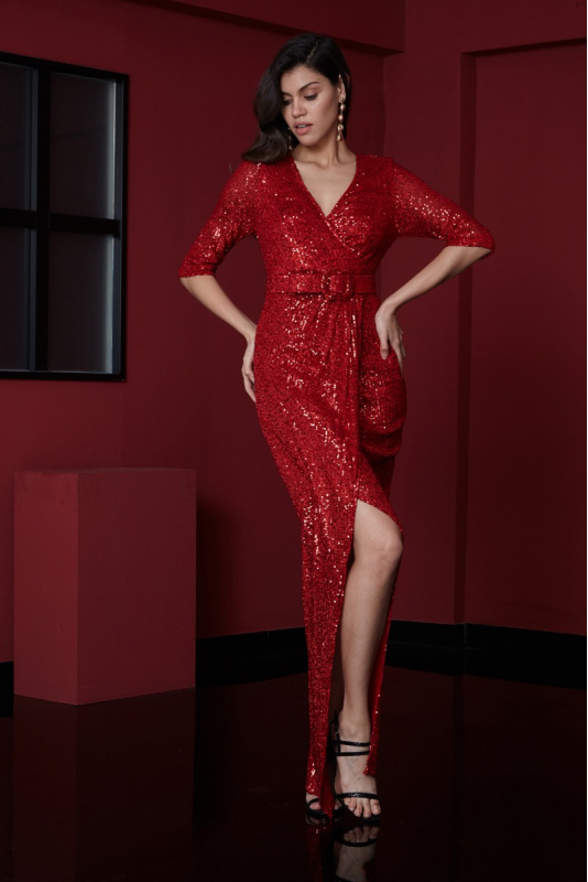 Red sequined 3/4 sleeve maxi dress