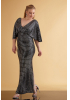Mirrored silver plus size sequined short sleeve maxi dress