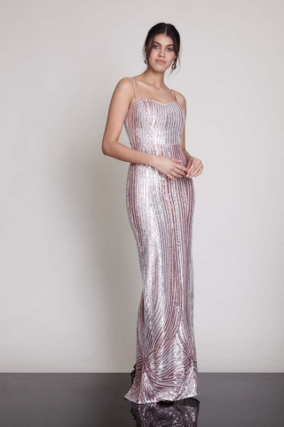 Powder sequined sleeveless maxi dress