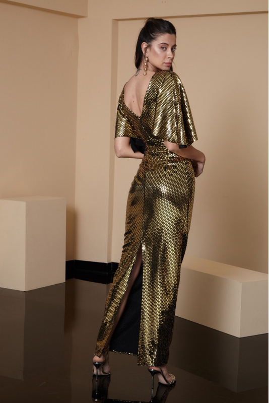 Mirrored gold sequined short sleeve maxi dress
