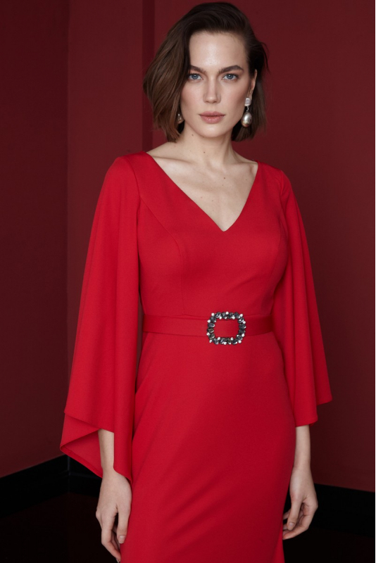 Red crepe long sleeve maxi dress