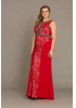 Red plus size crepe sleeveless maxi dress