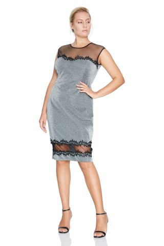 Silver plus size sleeveless midi dress