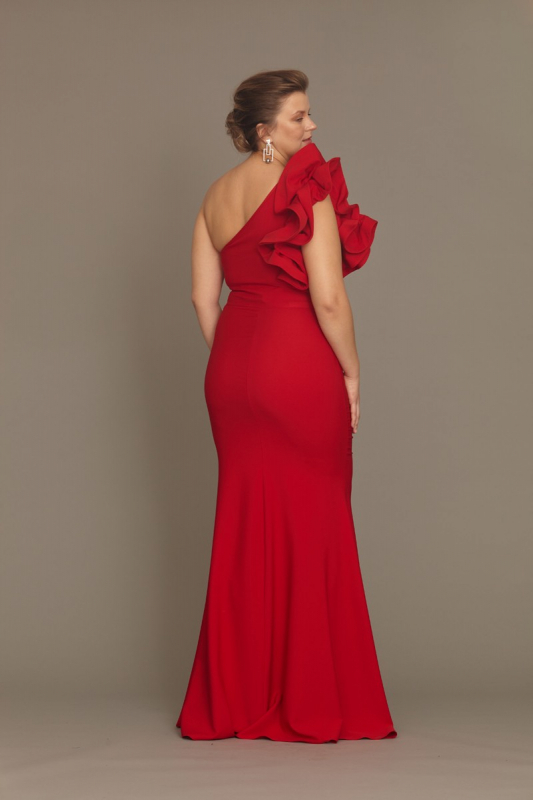 Red plus size crepe maxi dress