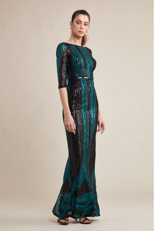 Green sequined 3/4 sleeve maxi dress
