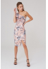 Print y21 crepe single sleeve midi dress