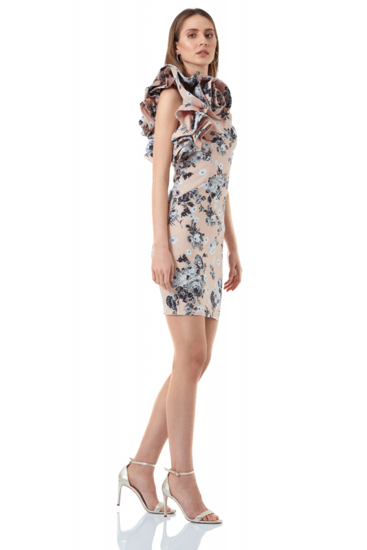 Print y18 crepe single sleeve mini dress